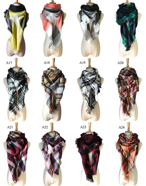 Women triangle Plaid Scarf Cozy Oversized Tartan Tassel Fashion Wrap grid triangular bandage Shawl Pashmina Cashmere scarves