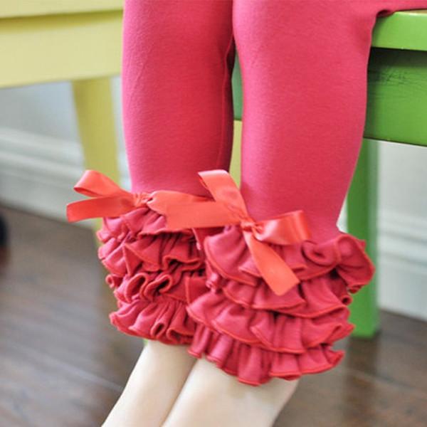 Pantaloni per bambini 3 strati Mint Aqua Ghiacciato Ruffle Leggings Pantaloni per bambini Nessun arco Per 1-8 T Primavera Autunno Giallo rosa Vestiti