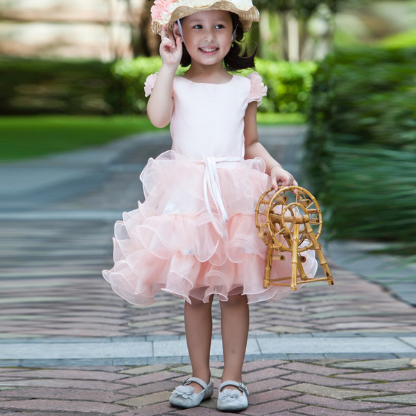 New 2017 Lovely Pink Flower Girl Dress With Shirt Sleeve Knee-Length Dress For Girl Kids Frock Designs Sashes Wedding Gowns Kids