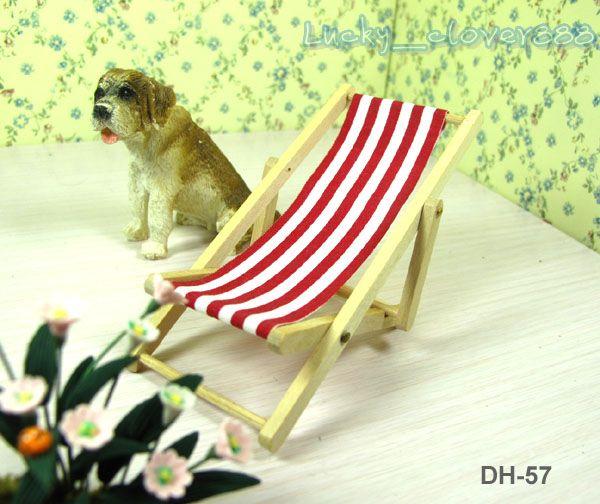1:12 Maison de poupée meubles Miniature Parc Jardin décoration Bois rayé pliant Beach Deck Chair mini ornement modèle cadeau
