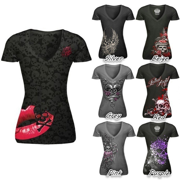 best selling Girls Women T-Shirt Blusas Short Sleeve V neck Print Skull Red Lip Women Tops Bodycon Slim Fit Punk Style Tee Shirt S-5XL