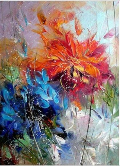 Framed Nice Abstract Blue Orange Flowers,Pure Handpainted Modern Wall Decor floral Art Oil Painting On Quality Canvas Multi sizes Available