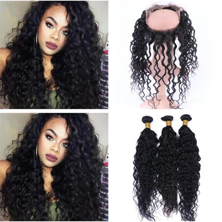 Peruvian Deep Curly Human Hair 360 Lace Frontal with Weaves 4Pcs Lot Unprocessed Virgin Hair 3Bundles with Full Frontal 360 Lace Closure