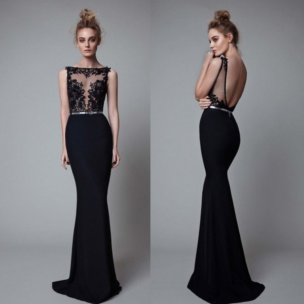 Fashion Black Berta Mermaid Lace Evening Dresses Sheer Bateau Neck Backless Prom Gowns Vestidos De Fiesta Sweep Train Appliqued Formal Dress