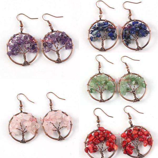 Großhandel 10 Paar neue Design Kupfer Multi Style Quarz Stein Ohrringe Baum des Lebens Ohrringe Modeschmuck