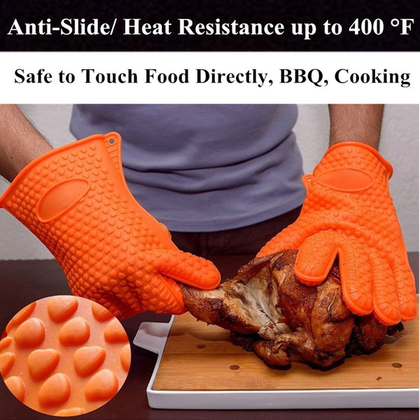 2pcs Kitchen Oven Gloves Heat Resistant Silicone Gloves Non-Slip Multifunction Cook Mitts Pot Holder Baking BBQ Easy-Clean Kitchen Gadgets