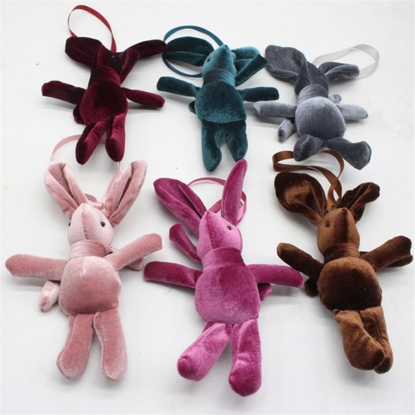 2018 New Special Rabbit Bunny Plush Toy Bag Phone Rabbits Dolls Pendants DIY Wishing Flower Bouquet Materials 15cm 10pcs