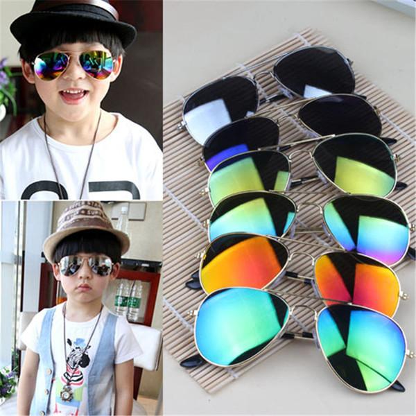 2017 Brand Designer Sun Glasses for Children Cool Mirror Reflective Metal Frame Kids Sunglasses Children's Glasses UV400 8 colors