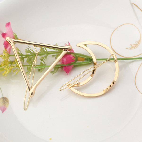 2016 New Brand Hairpins Triangle Moon Hair Pin Jewelry Lip Round Hair Clip For Women Barrettes Head Accessories Bijoux De Tete