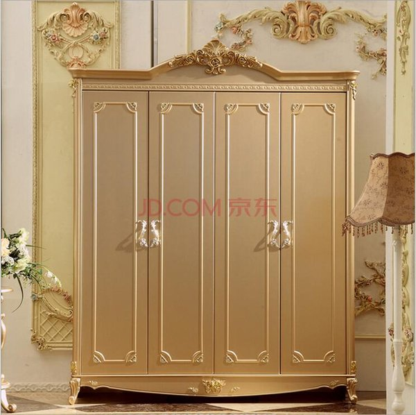 hot selling new arrival four door wardrobe modern European whole wardrobe French bedroom furniture wardrobe 10086