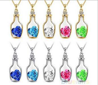 best selling Luxury Jewelry Silver Color with Wish Bottle Inlay Love Heart Crystals Vial Pendant Necklace for Women Gift BS68