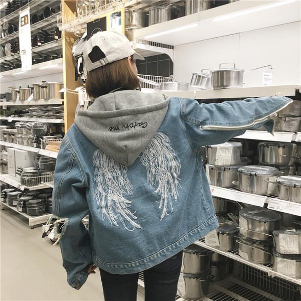 Satın Al Moda Kot Ceket Bayanlar Yeni Baskı Ceket Kış Casual
