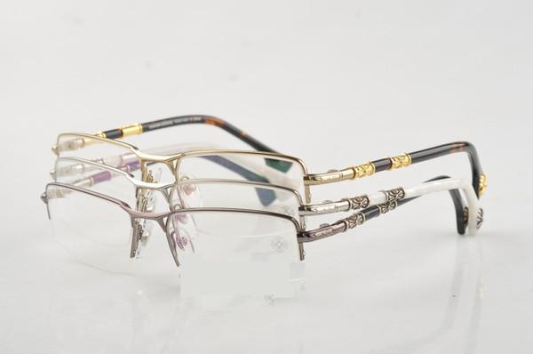 adabfd6189 Metal Frame Glasses Men Brand Designer Reading Glasses Vintage Prescription  Glasses Half Rim Frames Clear Lens for Women CR HEAD FROST-1