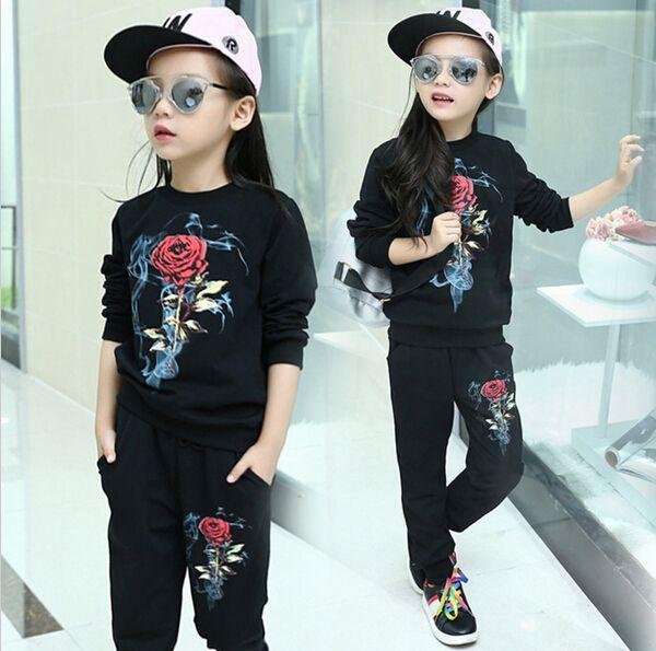 Kids Clothes Girl 2 pcs set Baby Girls Spring Coat Jacket Pants Sets Fashion Children Rose Flower Clothing Sportswear Sports Suit free shipp