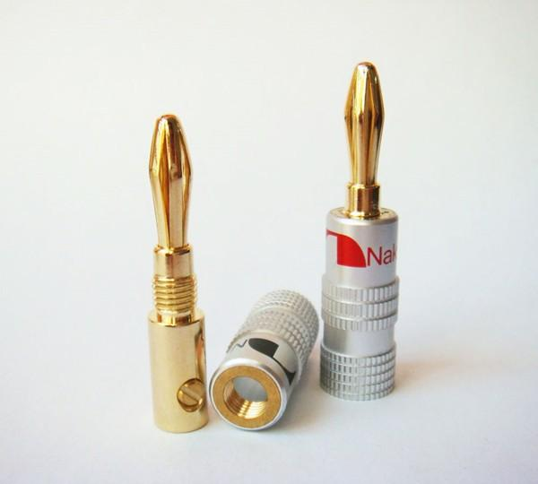 50pcs/Lot High Quality New 24K Gold Nakamichi Speaker Banana Plugs For Video Speaker Connector Black Red Color