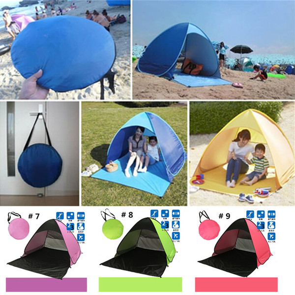 top popular Summer Tents Quick Automatic Opening 50+ UV Protection Outdoor Gear Camping Shelters Tent Beach Travel Lawn Multicolor 10 PCS Dropshipping 2021