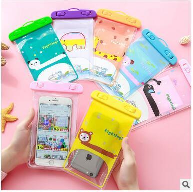 Yeni evrensel su geçirmez case için iphone cep samsung huawei cep telefonu sevimli karikatür kuru çanta pvc seal su geçirmez telefon çanta