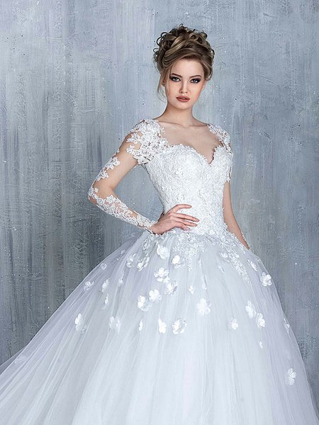 Elegant White Wedding Dresses With Lace Cap Sleeve Empire Waist ...
