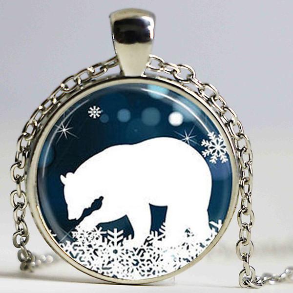 Antique VINTAGE Polar Bear Colgante de Navidad Collar Azul y Blanco Snowflake joyería steampunk mens chain mujeres encanto de la manera