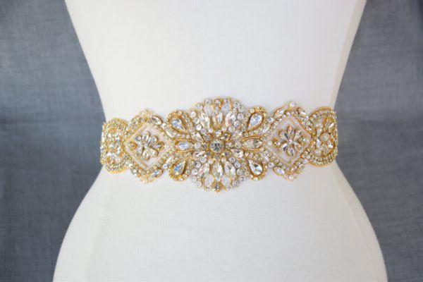 Handmade Gold Rhinestones Appliques Wedding Belt Clear Crystal Sewing on Bridal Sashes Wedding Dresses Sashes Bridal Accessories T30