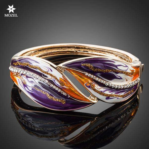 Wholesale MOZEL Jewelry Swarovski Elements Gold Plated Stellux Austrian Crystal Multicolour Oil Painting Pattern Bangle Bracelet TB0013