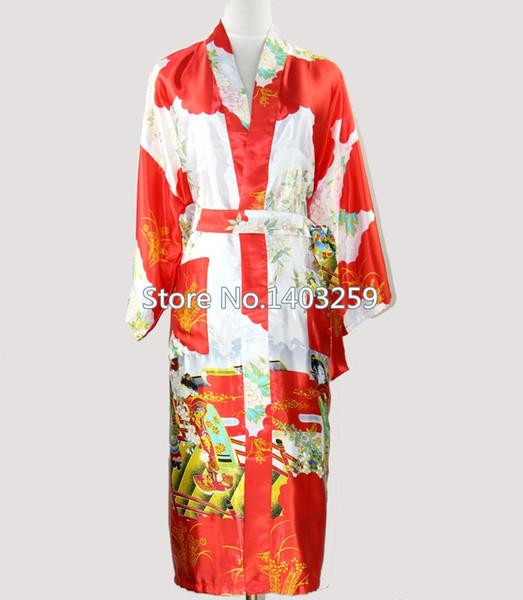 All'ingrosso-Sexy Red Japanese Women Kimono Bath Gown Long Silk Rayon Lingerie Sleepwear Damigella d'onore Abito da sposa S M L XL XXL XXXL NR036