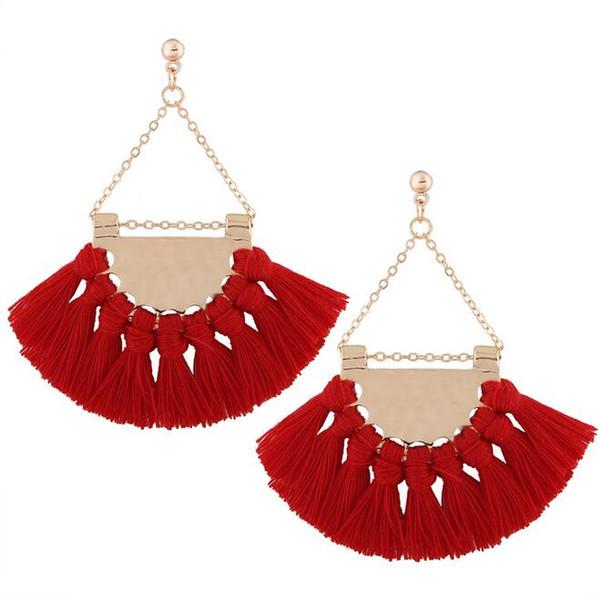 Fashionable 2pcs/set fan-shaped tassel earrings Women girls upscale Bohemian earrings exaggerated fashion exaggerated earrings accessories