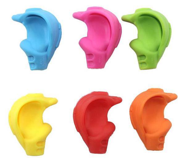 50 pcs Silicone Caoutchouc Crossover Crayon Grip Porte-Stylo Écriture Griffe pour Enfants Enfants Correct Apprendre Écrire Formation 6 couleur choisir libre