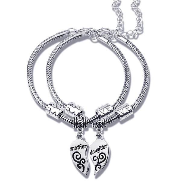 2 teile / satz Mutter Tochter Schmuck LIEBE Herzförmigen Charme Armbänder Bangels Fashion Armband Frauen Weihnachten Mütter Tag Geschenk 5