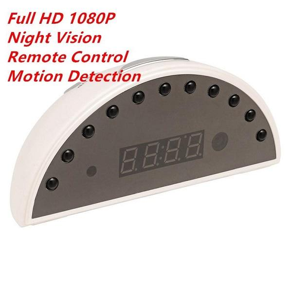 HD 1080P WIFI Digital Alarm Clock P2P IP Camera Night vision Clock pinhole camera with motion detection Home Office Security Nanny cam