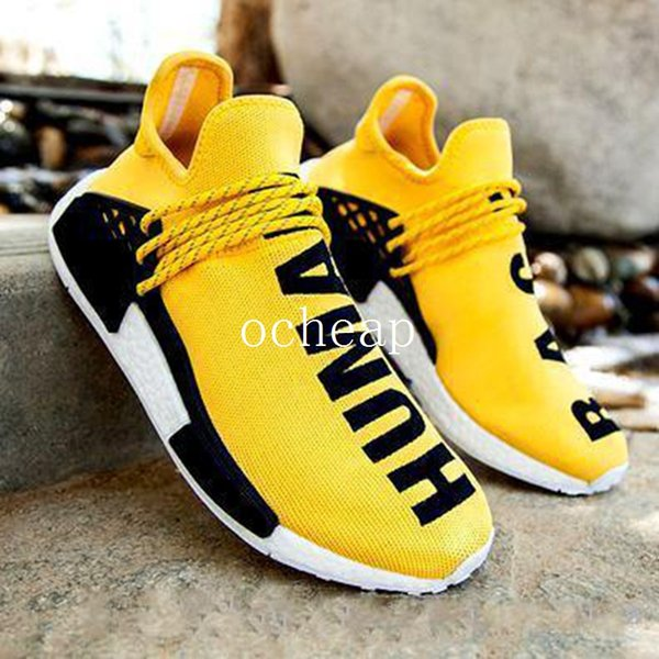 brand new 4dea7 12aee Cheap Pharrell Nmd Human Race Yellow Running Shoes Mens Womens Nmd Human  Race Yellow Light Blue Sneakers Size 36 44 Barefoot Running Shoes Running  ...