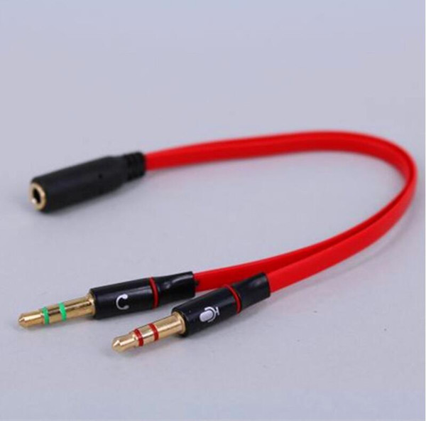 best selling High quality 3.5mm Mini Jack 1 Female to 2 Male (Headset + Mic) Y Splitter Earphone computer Audio Cable