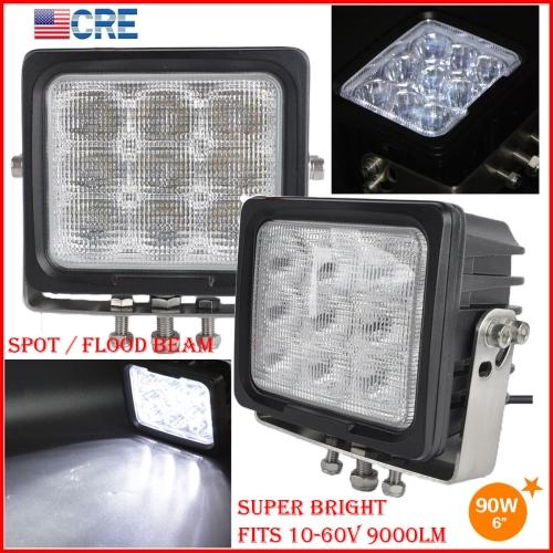 """DHL 2PCS 6"""" 90W CREE Chips LED Driving Working Light 9LED*10W Offroad SUV ATV 4WD Spot Pencil / Flood Spread Beam 9000LM Heavy SUPER Bright"""