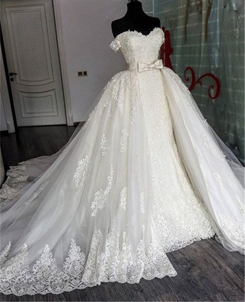 top popular Sexy Sweetheart Lace Mermaid Wedding Dresses Removable Train Applique Lace Bridal Gowns with Detachable Skirt Wedding Gowns vestido novia 2021