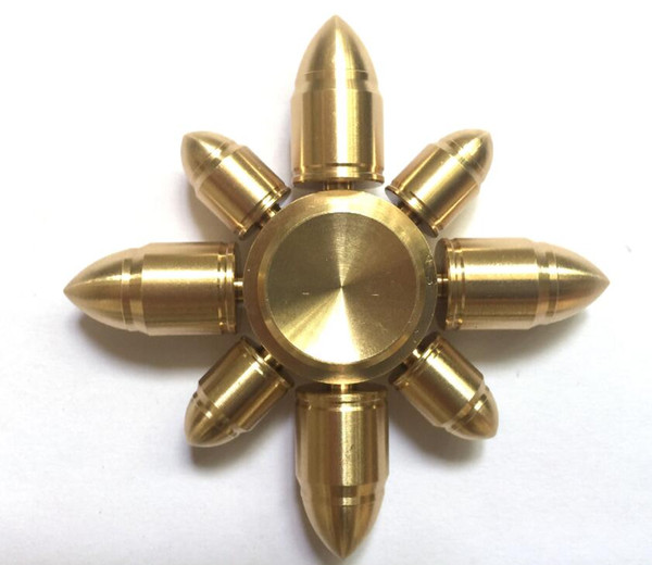 best selling New Arrival Eight Arms Bullet Brass Speed Bearing Fidget Spinner Fingertip Gyro EDC Hand Spinner Autism ADHD Stress Relief Toys