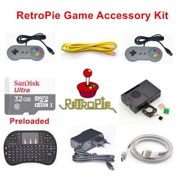 Kit d'accessoires pour console de jeu RetroPie préchargés Raspberry Pi 3 modèle B 32 Go