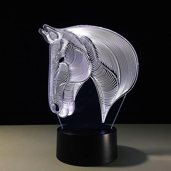 Horse Head 3D Optical Illusion Lamp Night Light DC 5V USB Charging 5th Battery Dropshipping Free Shipping