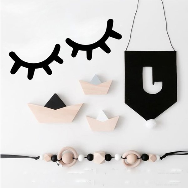 INS 1 Pair Cute Eyelash Wall Stickers for Kids Room Vinyl Removable Wall Decals PVC Classic Black and White Home Design Nursery Wall Decor