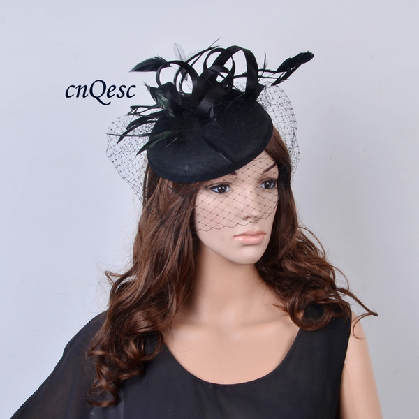best selling NEW DESIGN Dress Black felt fascinator hat for wedding race church party with feathers and veiling.