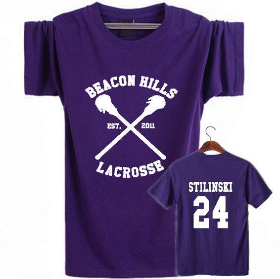 Beacon Hills shirt Stilinski 24 short sleeve Lacrosse sport tees Leisure quality clothing Elastic cotton Tshirt