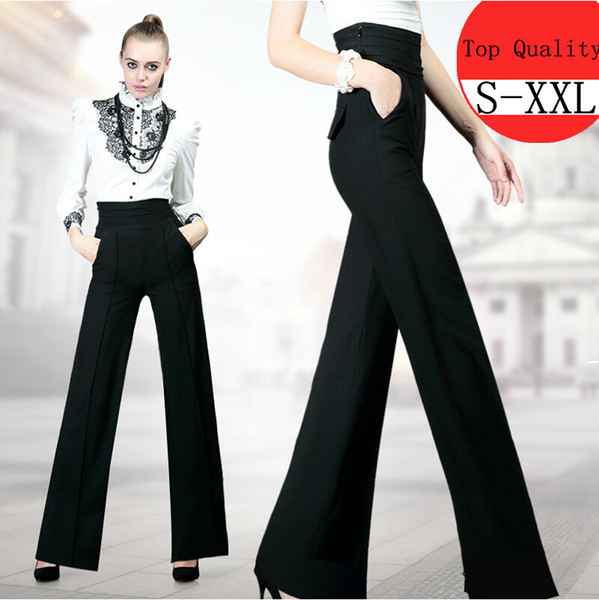 New Women Work Black Slim High Waist Flare Vintage Career OL Loose Wide Leg Long Pants Palazzo Trousers Fashion Pants S-XXL