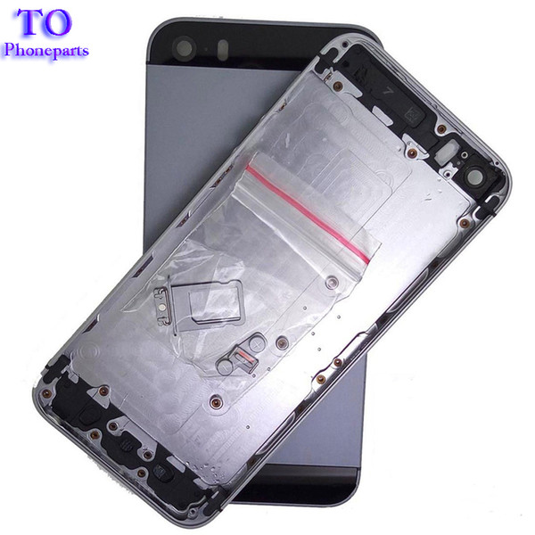 20pcs real housing back battery cover for iphone 5 5g 5s housing middle frame metal battery back case+small parts tracking