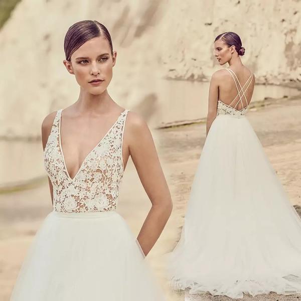 Großhandel 2017 Sommer Strand Vintage V Ausschnitt Brautkleider Weiß ...