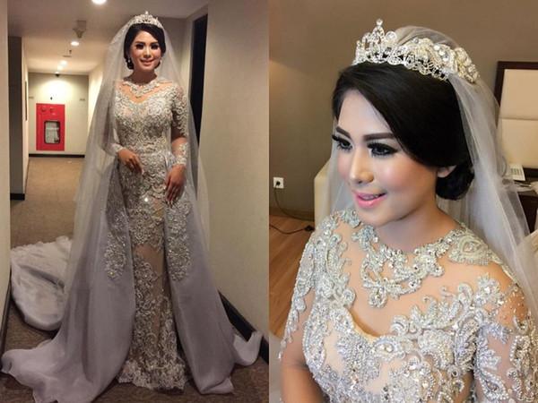 Luxus abnehmbarer Zug Mermaid Brautkleider applizierte Trompete Brautkleider Juwel Ausschnitt Brautkleid mit langen Ärmeln