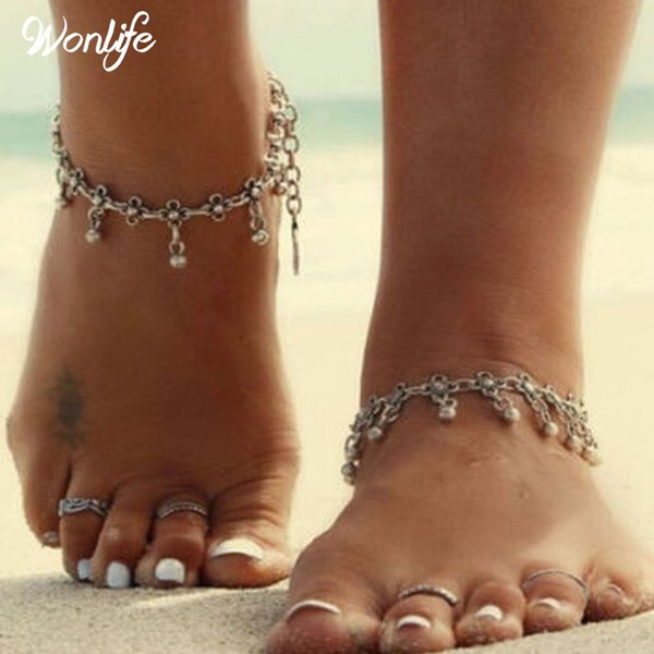 top popular 2017 Summer Style Bohemian Gypsy Turkish Tribal Boho Silver Coin Anklet Ankle Bracelet Boho Foot Jewelry 2019