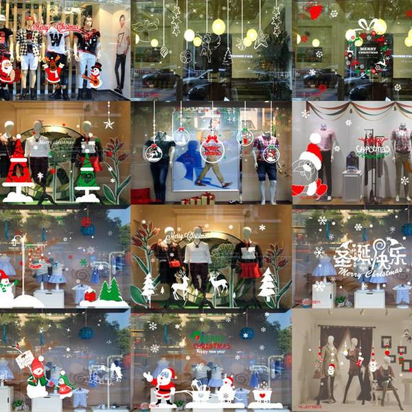 Christmas Santa Claus Sticker Large Glass Door Stickers Window Snowman  Christmas Tree Sticker Christmas Decorations