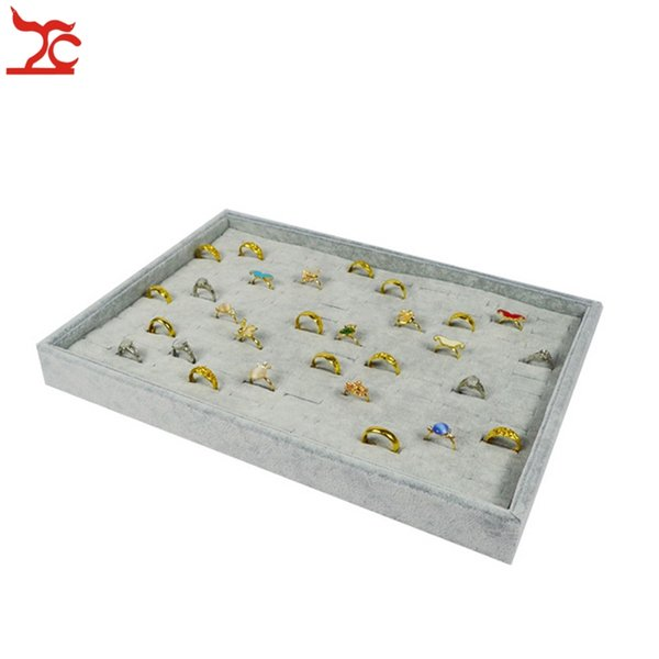 Retail High Quality Grey Velvet Jewelry Ring Organizer Display Cases 110 Slot Ring Storage Holder Tray 35*24*3cm