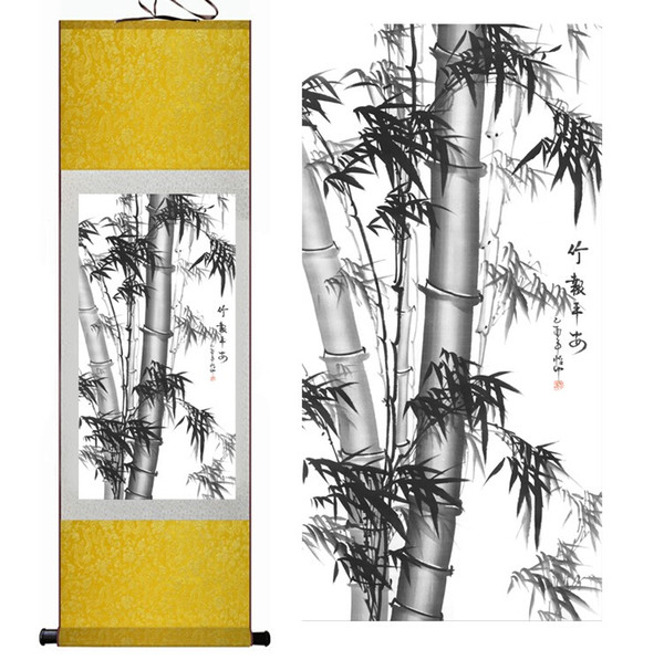 Бамбук Живопись Украшения Дома Офиса Китайский свиток живопись сосны, черный белый бамбук Wall Art Scroll Hang Picture