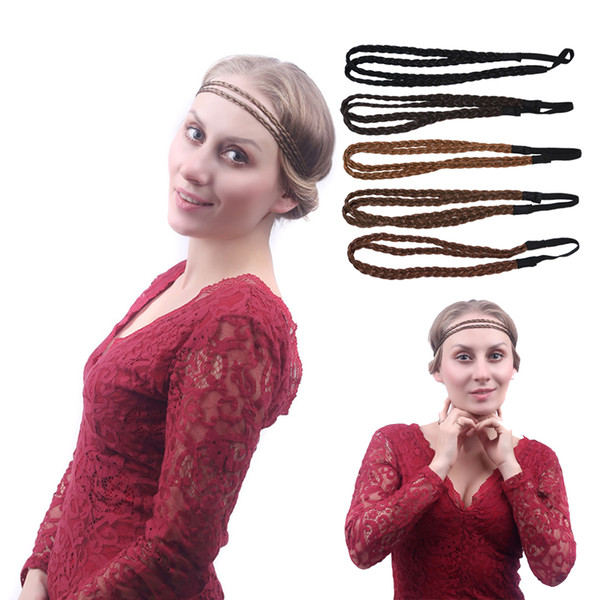 Women Double Twist Braided Hair Wig Headband Elastic Hairband Plaited Synthetic Wigs Forehead Head Band Hair Accessory Xmas Masquerade Party