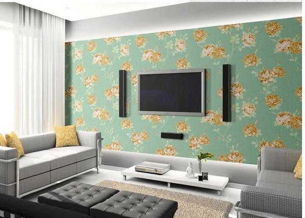 Home Decor Living Room Natural Art Light Blue Modern Fashion Garden Rose Flowers Seamless Stitching Wallpaper Good Wallpaper Hd Good Wallpapers For